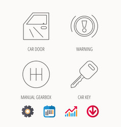 car key warning and manual gearbox icons vector image