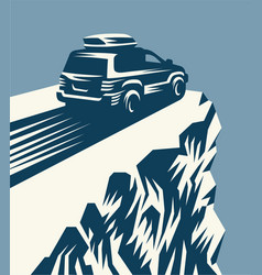 car on a rock vector image