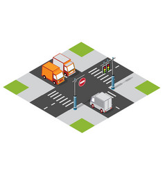 car van at crossroads vector image