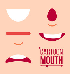 cartoon mouth set tongue smile teeth vector image