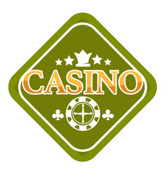 casino club isolated icon crown and roulette wheel vector image