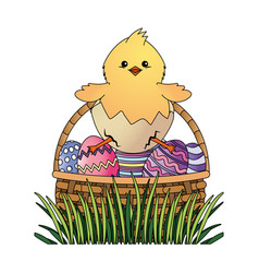 Chick with easter eggs vector