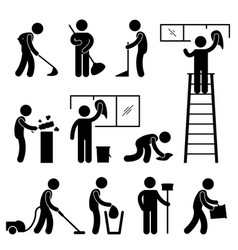 Clean wash wipe vacuum cleaner worker pictograph vector