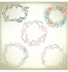 collection vintage romantic floral wreathes vector image
