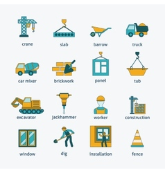 Construction icons flat line set vector image