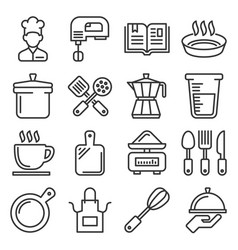 cooking and kitchen icons set line style vector image