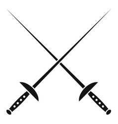 Crossed fencing sword icon simple style vector