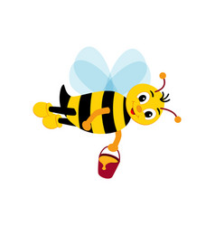 cute bee holding honey happy cartoon bee flying vector image