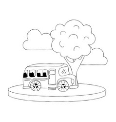 Dotted shape school bus in the city with clouds vector