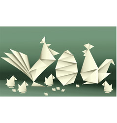 Easter paper chicken family vector