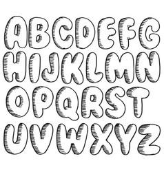 element design hand drawn doodle font set of vector image