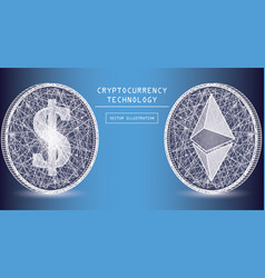 ethereum digital currency icons and symbols vector image