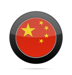 Flag of China Shiny black round button vector image