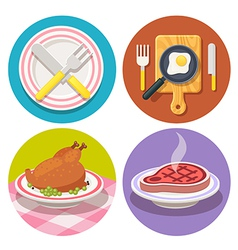 Food and dish icons in flat design vector