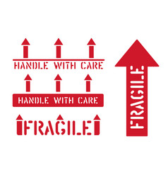 Fragile this way up handle with care box sign vector