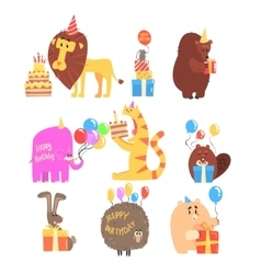 Funky Animals With Party Attributes At The Kids vector