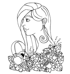 Girl and headphones in the vector