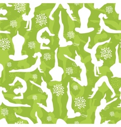 Green yoga poses seamless pattern background vector