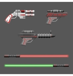 Guns set Video game weapons vector