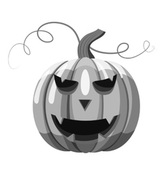 Halloween pumpkin icon gray monochrome style vector