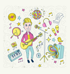 handdrawn on profession concept vector image