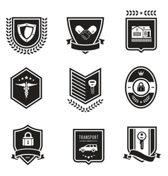 Handshake insurance badges vector image