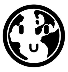 happy globe silhouette vector image