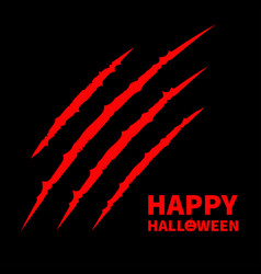 Happy halloween pumpkin text red bloody claws vector