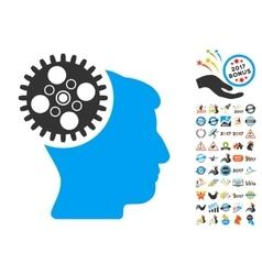 Head Gearwheel Icon With 2017 Year Bonus Symbols vector