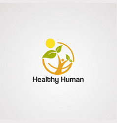 healthy human logo iconelement and template vector image