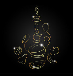 Hookah with fruit golden silhouette vector