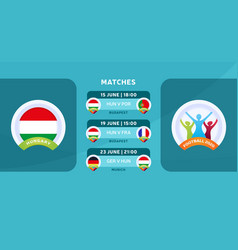 Hungary national team schedule matches in the vector