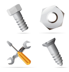 Icons for nuts and bolts vector