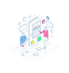 Isometric freelancing creative blogging vector