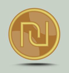 Israeli currency shekel symbol in circle gold vector