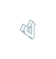 Junction separation two ways isometric icon 3d vector