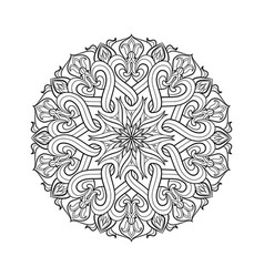 linear mandala monochrome circular pattern for vector image