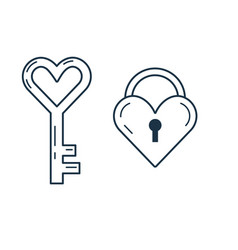 Love lock and key line art icons vector
