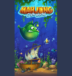 Mahjong fish world - mobile format playing field vector