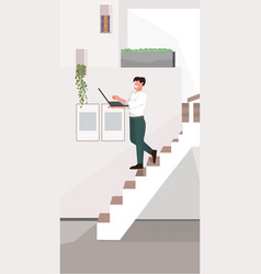 Man going down stairs guy freelancer on staircase vector