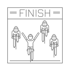 Modern of cyclists on finish line vector image