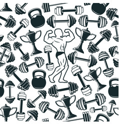 muscleman and gym weight dumbbell seamless pattern vector image