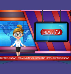 Newsreader woman are broadcating on tv vector