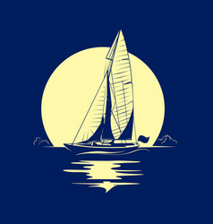 Ocean yacht with full moon vector