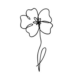 One line drawing abstract flower poppy hand drawn vector