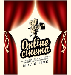 Online cinema banner with curtains and old camera vector