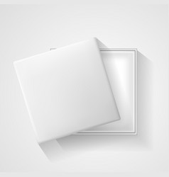 Open white empty gift box on light background top vector