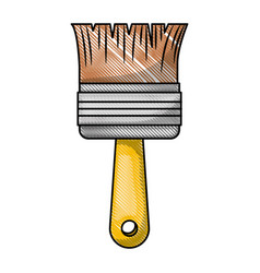 paint brush icon in colored crayon silhouette vector image