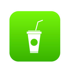 paper cup with straw icon digital green vector image