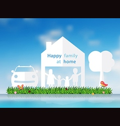 Paper cut of happy family with home vector image